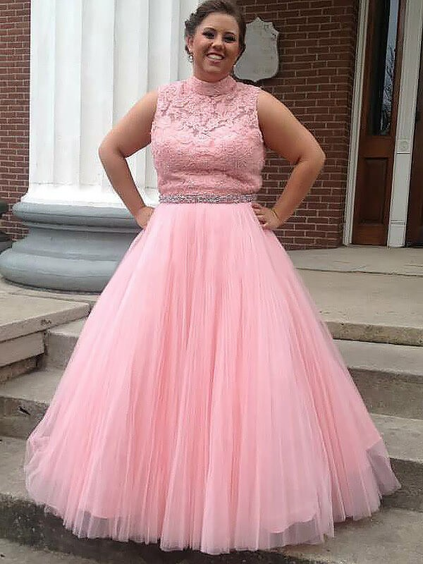 Floor-Length Ball Gown High Neck Tulle With Applique Sleeveless Plus Size Dresses
