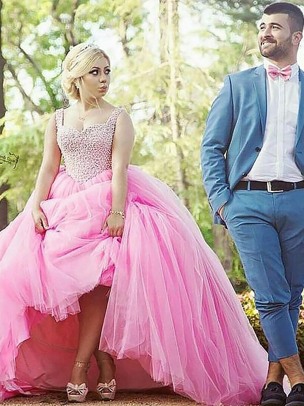 Sweep/Brush Train Ball Gown Sleeveless Sweetheart Tulle Pearls Plus Size Dresses