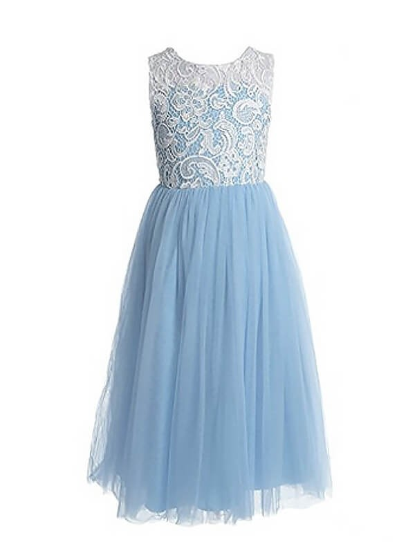 Jewel A-Line/Princess Sleeveless Lace Ankle-Length Tulle Flower Girl Dresses
