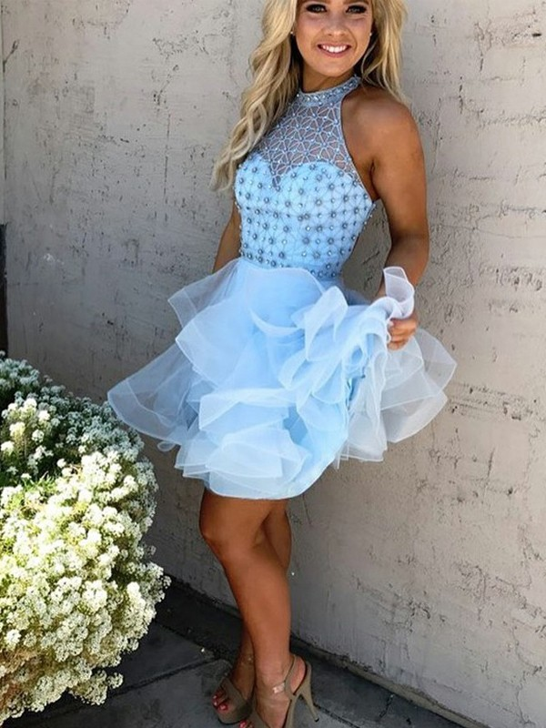 A-Line/Princess High Neck Sleeveless Short/Mini Tulle Dresses With Beading
