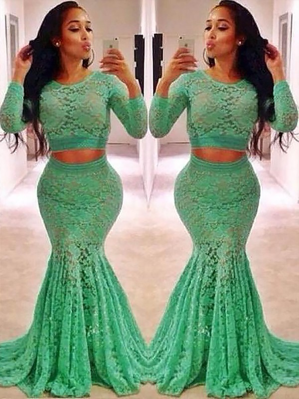 Sweep/Brush Train Mermaid Scoop Long Sleeves Lace Two Piece Dresses With Ruffles