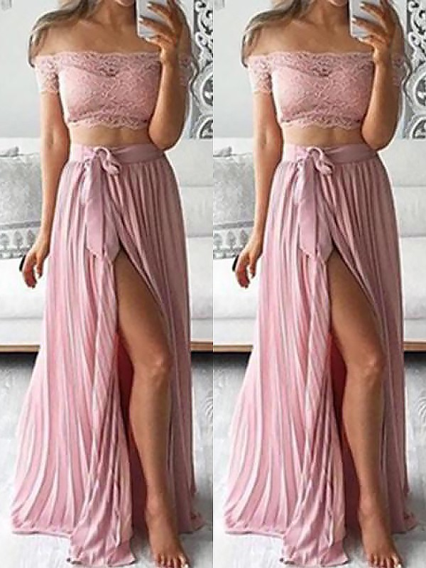 Floor-Length A-Line/Princess Off-the-Shoulder Sleeveless Chiffon Lace Two Piece Dresses
