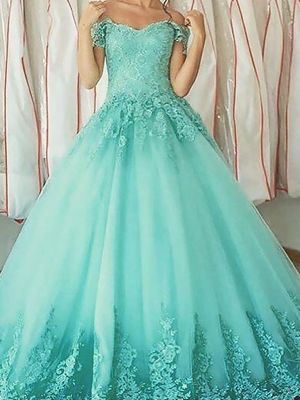 Floor-Length Ball Gown Sleeveless Off-the-Shoulder Tulle Dresses With Applique