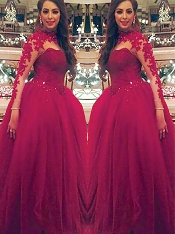 Floor-Length Ball Gown Long Sleeves High Neck Tulle Dresses With Applique