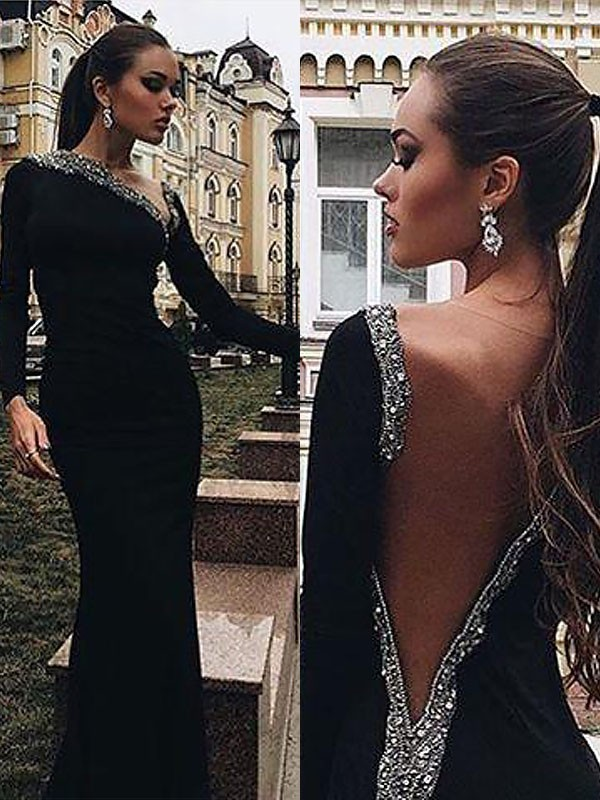 Affordable Sweep/Brush Train Trumpet/Mermaid One-Shoulder Long Sleeves Spandex Dresses With Beading