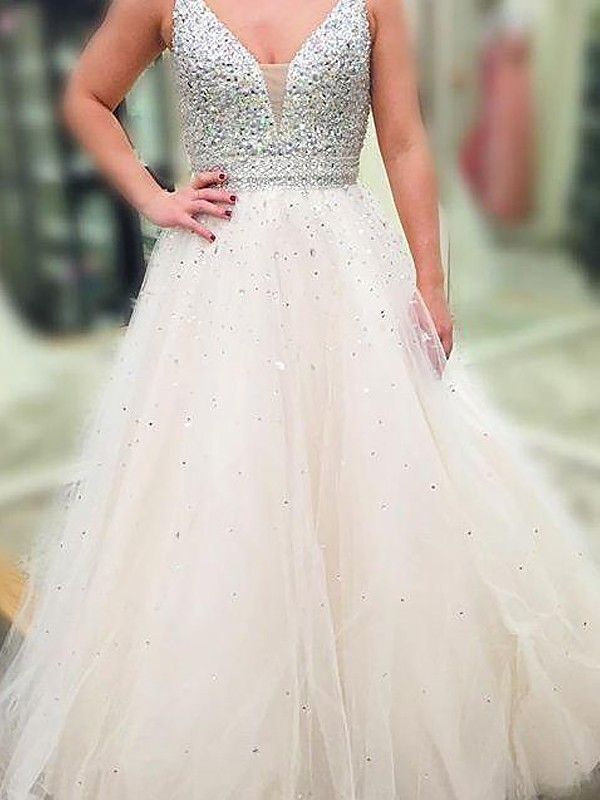 Attractive A-Line/Princess V-neck Sleeveless Floor-Length Tulle Dresses With Beading