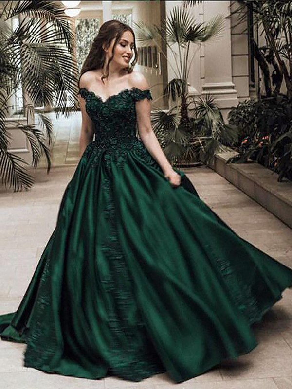 Ball Gown Off-the-Shoulder Satin Sleeveless Floor-Length Lace Dresses