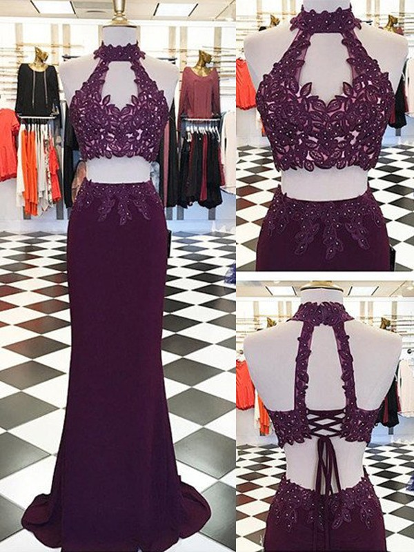 Floor-Length Sheath/Column Halter With Applique Sleeveless Spandex Two Piece Dresses
