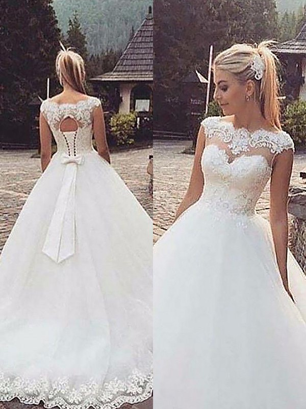 Stunning Ball Gown Sleeveless Bateau Court Train Tulle Wedding Dresses