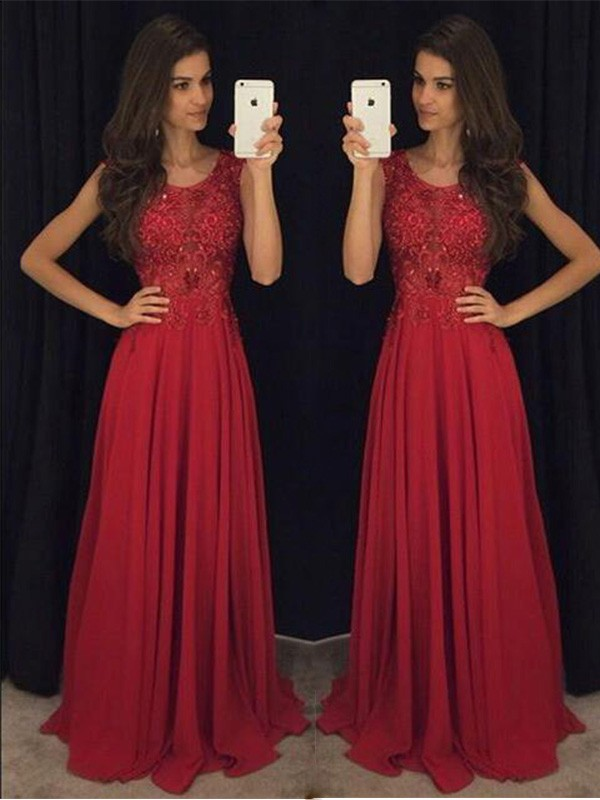 Pretty A-Line/Princess Scoop Sleeveless With Beading Chiffon Long Dresses