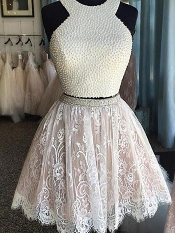 Halter A-Line/Princess Sleeveless Pearls Short/Mini Lace Two Piece Dresses
