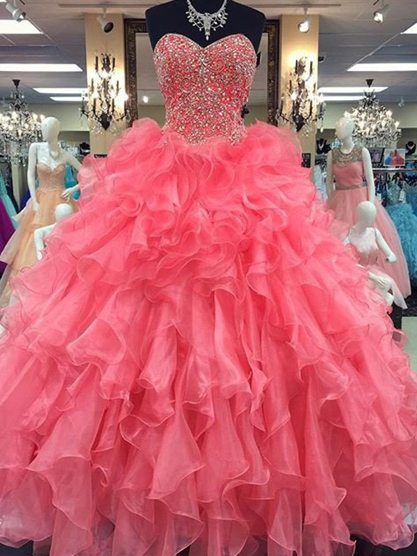 Fashional Ball Gown Sweetheart Sleeveless Floor-Length Organza Dresses With Beading