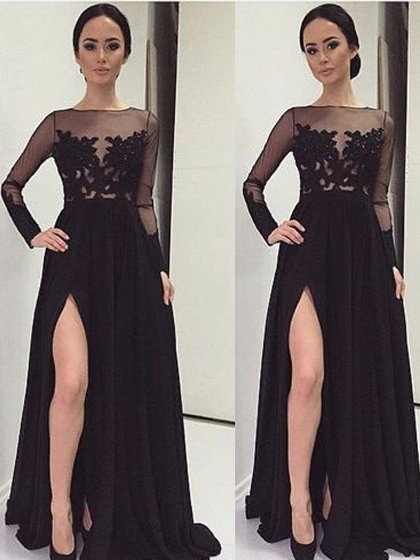 A-Line/Princess Bateau Floor-Length Chiffon Long Sleeves Lace Dresses