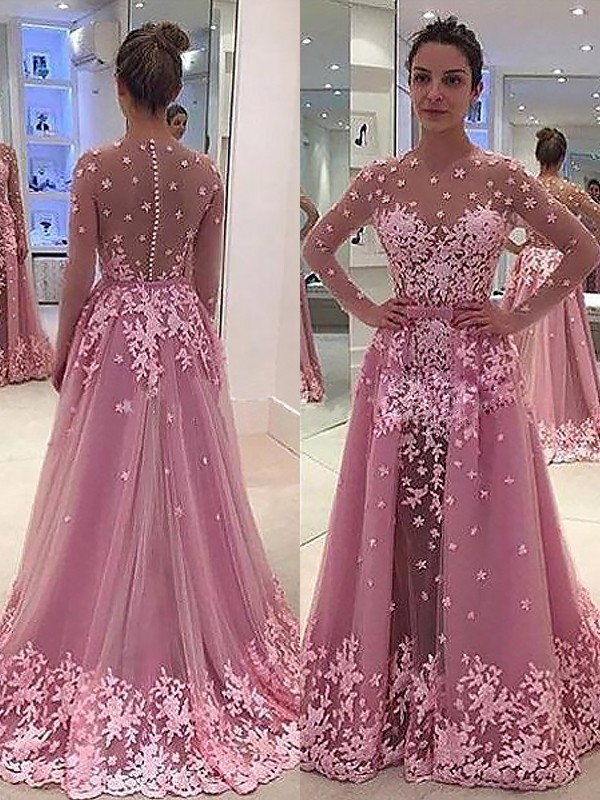 Floor-Length A-Line/Princess Scoop Long Sleeves Tulle Dresses With Applique