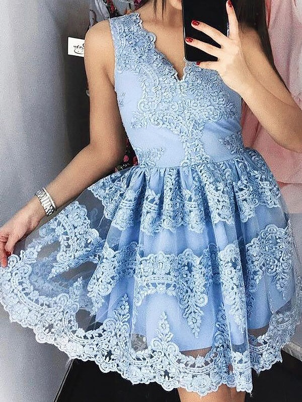 Modern Lace A-Line/Princess V-neck Sleeveless Short/Mini Dresses