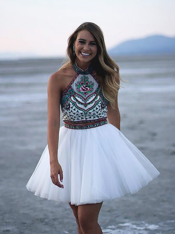 A-Line/Princess Halter Tulle Sleeveless Short/Mini Dresses With Applique