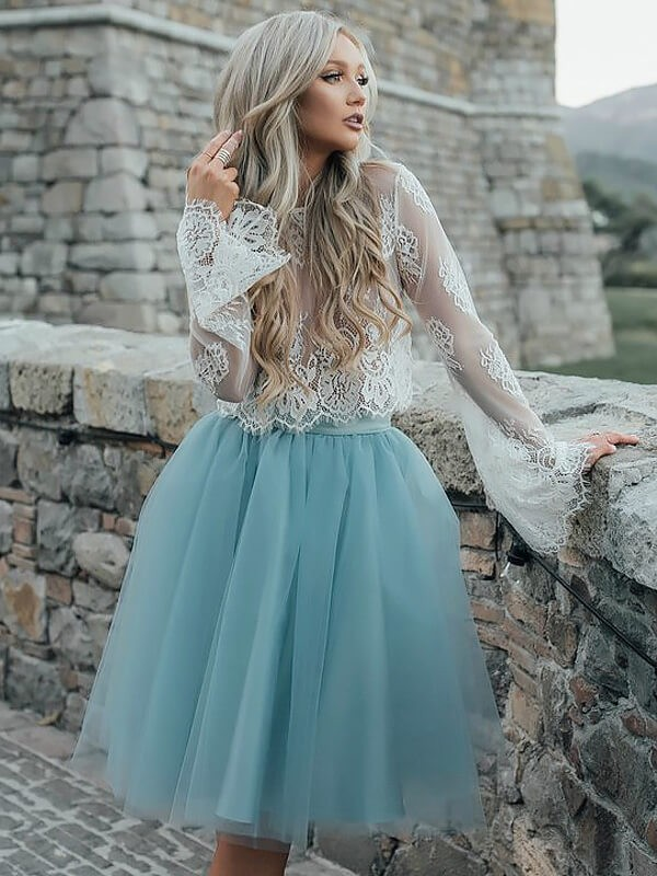 Romantic A-Line/Princess Scoop Long Sleeves Short/Mini Tulle Dresses