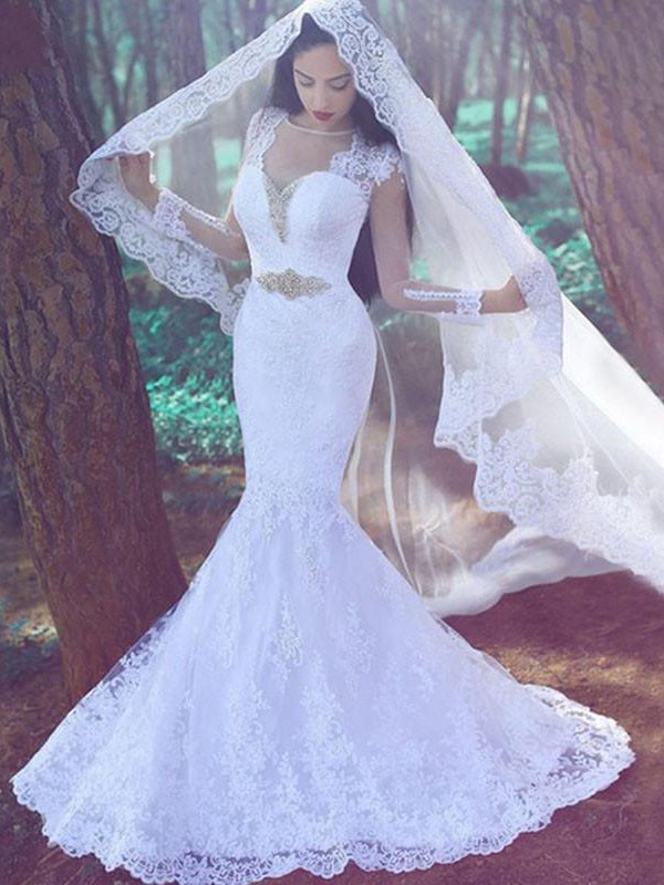 Trumpet/Mermaid Long Sleeves Sweetheart Lace Court Train Wedding Dresses