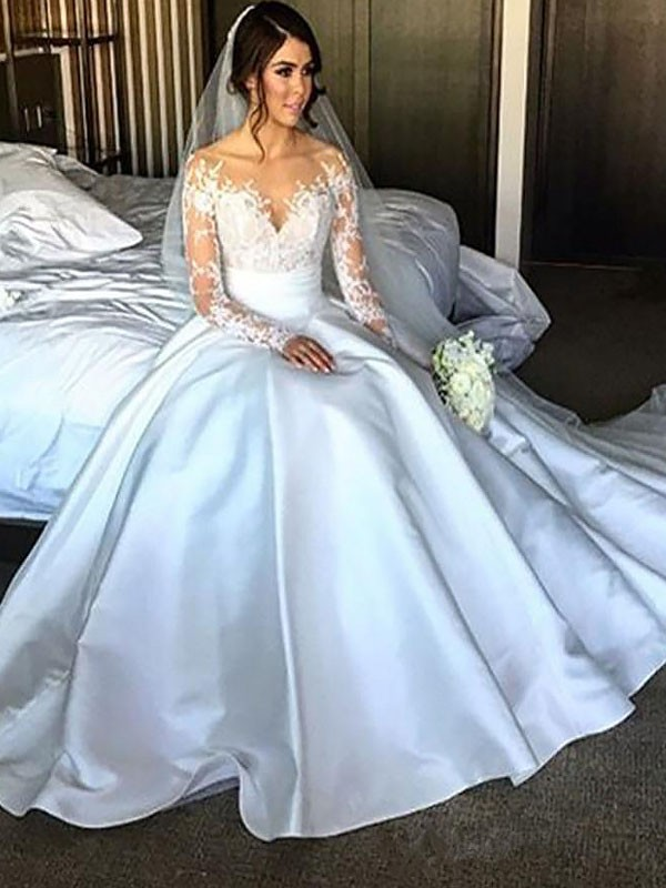 Ball Gown Long Sleeves Off-the-Shoulder Court Train Satin Wedding Dresses