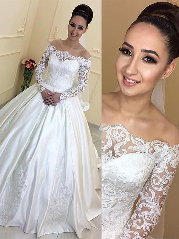 Off-the-Shoulder Ball Gown Long Sleeves Satin Court Train Wedding Dresses