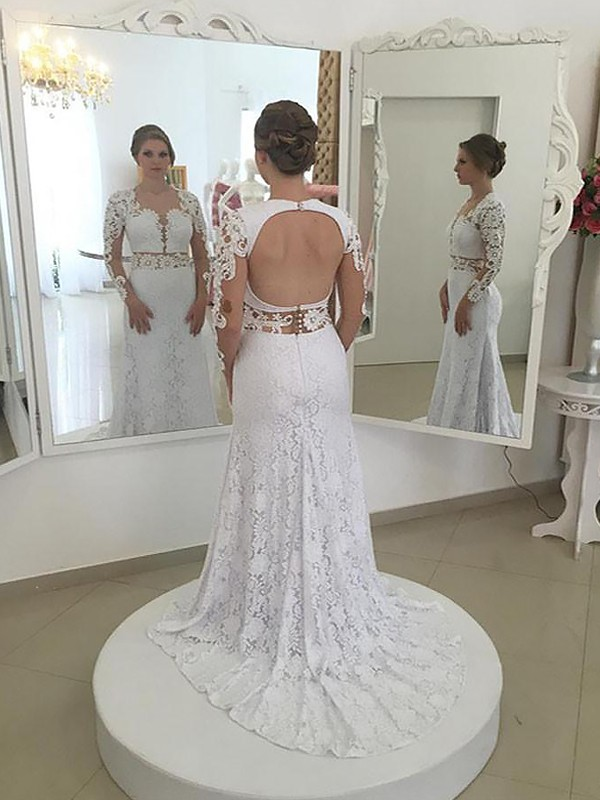 Stunning Sheath/Column Long Sleeves Scoop Sweep/Brush Train Lace Wedding Dresses