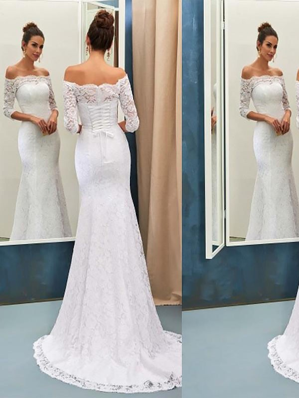 Trumpet/Mermaid Long Sleeves Off-the-Shoulder Lace Long Wedding Dresses