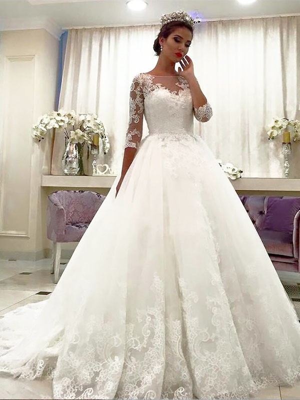 Amazing Court Train Ball Gown 3/4 Sleeves Bateau Tulle Wedding Dresses