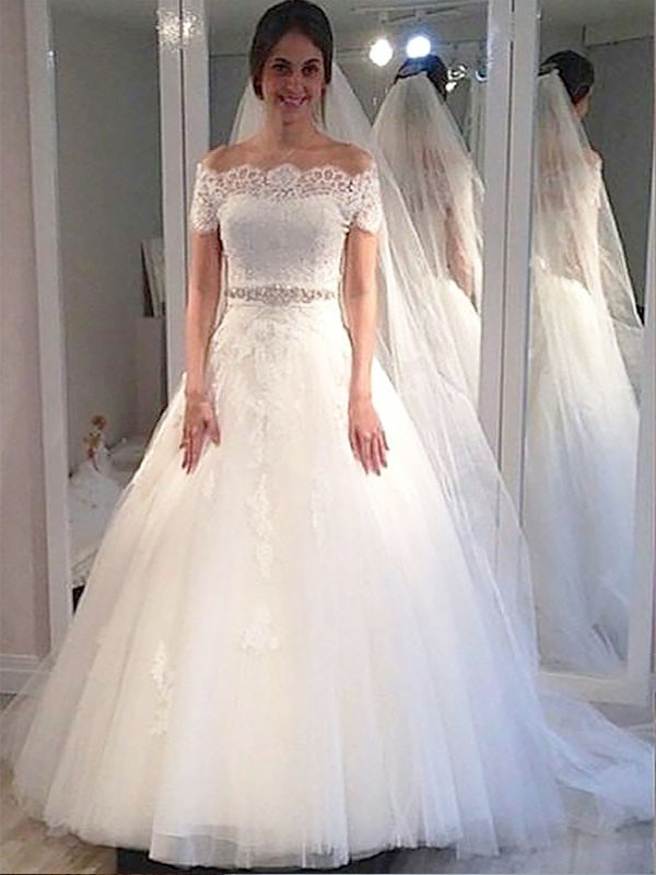 Ball Gown Short Sleeves Off-the-Shoulder Sweep/Brush Train Tulle Wedding Dresses