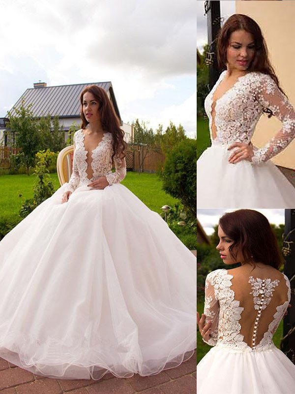 Fashion Ball Gown Long Sleeves V-neck Tulle Court Train Wedding Dresses