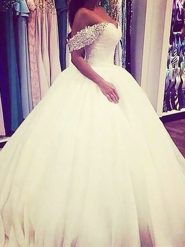 Ball Gown Sleeveless Off-the-Shoulder Sweep/Brush Train Tulle Wedding Dresses