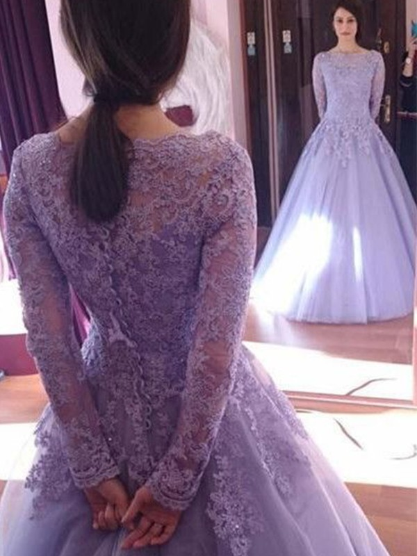 Fabulous Ball Gown Jewel Long Sleeves Floor-Length Tulle Dresses