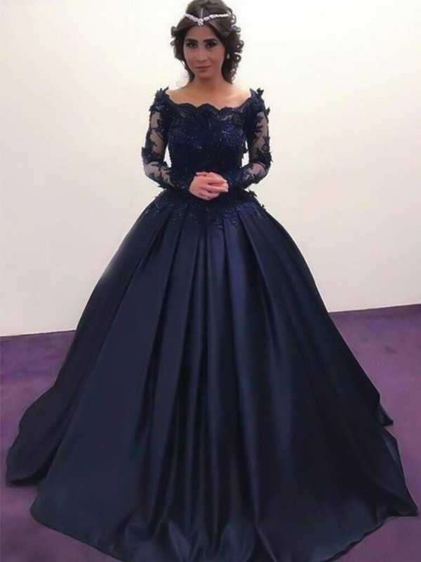 Amazing Ball Gown Bateau Long Sleeves Satin Sweep/Brush Train Dresses